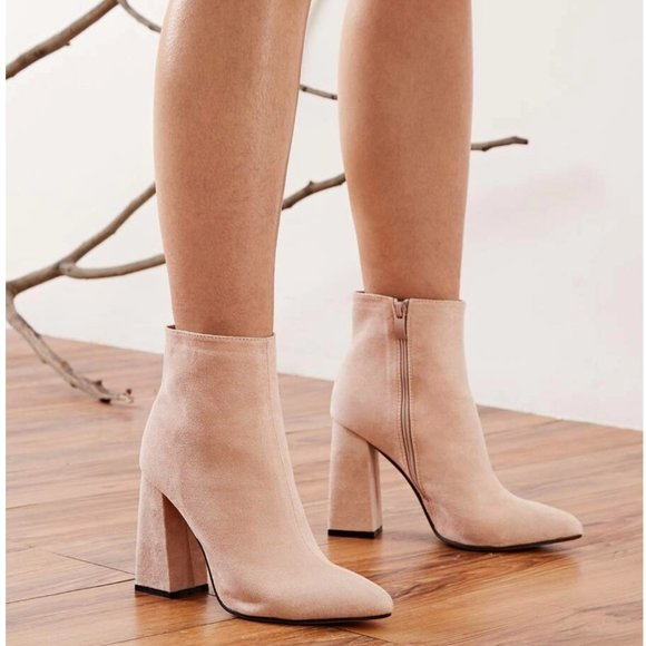 Brand New Suede Boots In Pinkish Nude